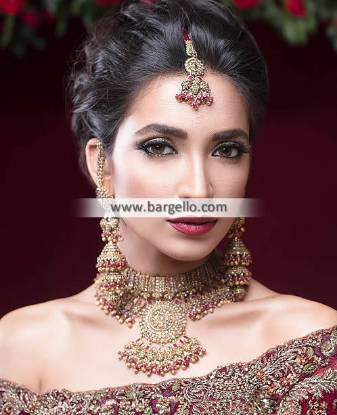 Red Polki Bridal Set, Red Polki Bridal Set with Jhumkis, Red Polki Bridal Jewellery,  Red Polki Bridal Set Hertfordshire, Red Polki Bridal Set England, Red Polki Bridal Set UK, Bridal Jewellery Sets
