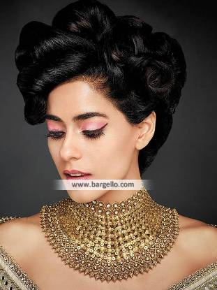 Pakistani Designer Heavy Gold Choker Buckingham UK Artificial Gold Choker