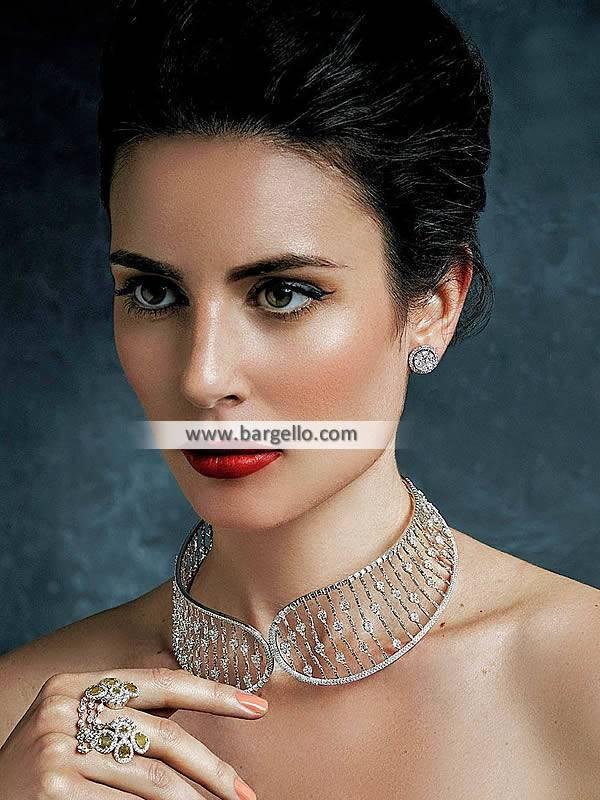 Artificial Silver Choker Sets Manchester UK Diamond Like Party Wear Jewellery