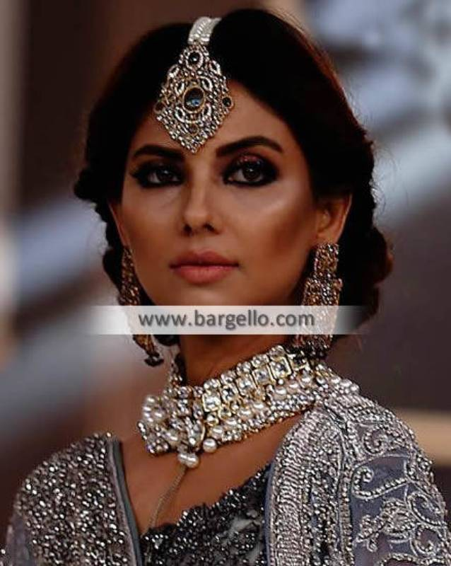 Bridal Party Jewellery Sets Surrey UK Pakistani Designer Zircon Pearls Sets