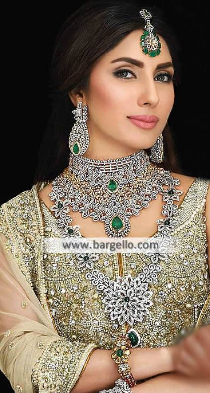 Exclusive Bridal Choker Jewllery Set Artificial Tika Necklace and Earring Jewellery Sets
