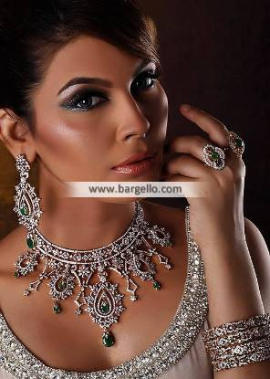 Leicester Artificial Diamond and Emerald Jewellery Set Pakistan Gold Plated