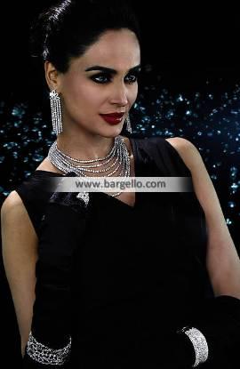 Evening Diamond Jewellery Set for Party Wear Artificial Diamond like Necklace Earrings Bracelets