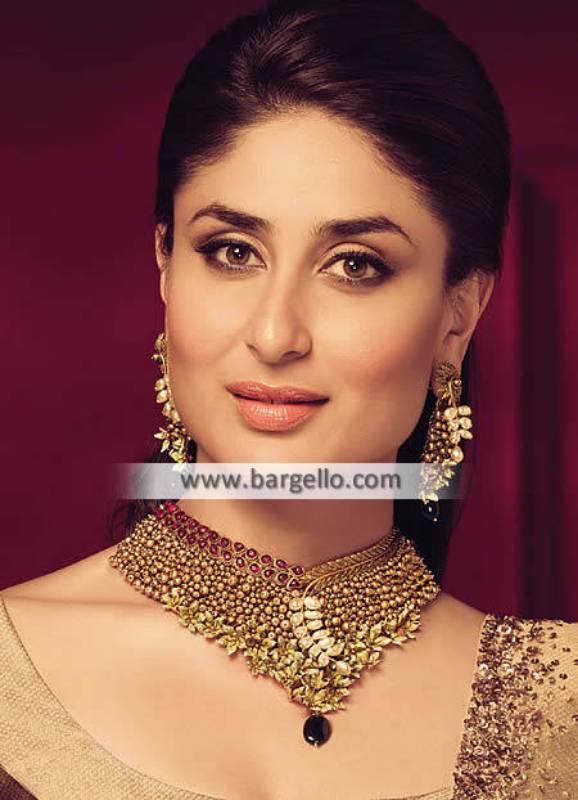 Heavy Necklace and Tops Set Ruby Gemstones Dahran Saudi Arabia Pakistani Jewellery Sets