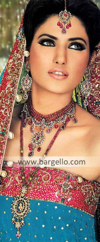 Gorgeous Pakistani Bridal Jewellery Sets in Indian Pink and Ruby Color Woking UK
