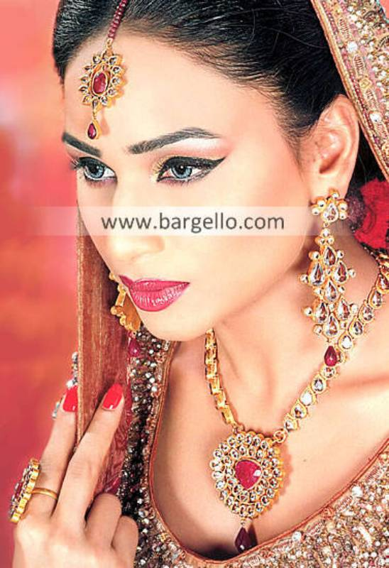 Royal Pakistani Gold Plated Bridal Jewellery Manhattan New York Kansas US Kundan Ruby Jewellery Sets