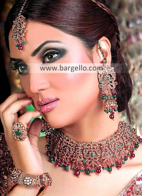 Pakistani Bridal Jewellery Sets Woodlawn Fairfax Virginia USA Kundan Emerald Jewellery Sets