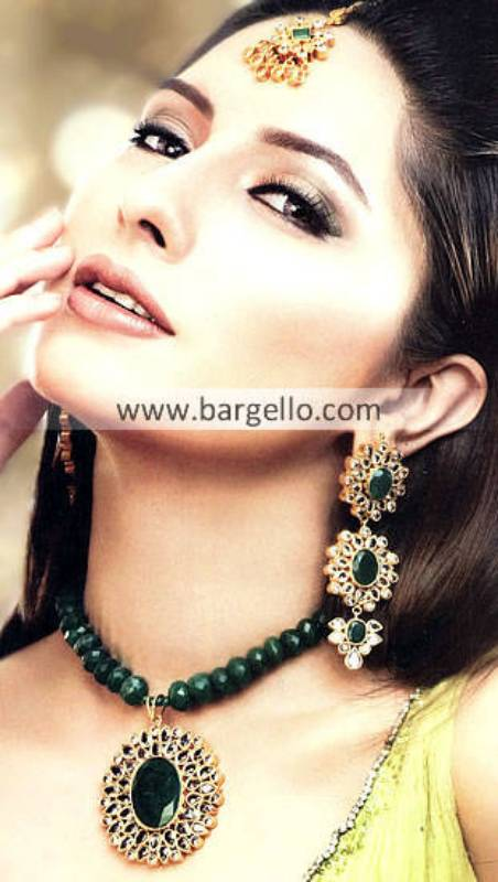 Beautiful Emerald Stone Jewellery Sets Norcross GA USA Kundan Jewellery Sets in Gold