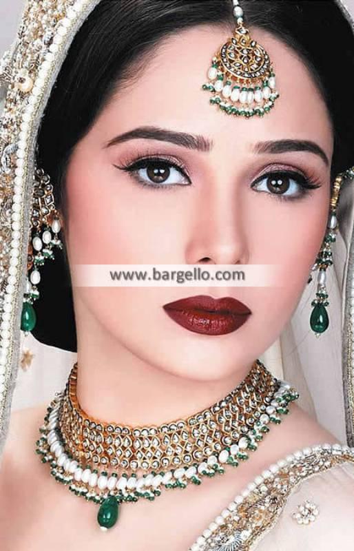 Traditional Pakistani Bridal Jewellery Sets Surrey UK Kundan Jewellery Sets Emerald Stones