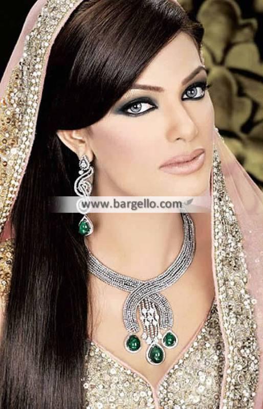 Stylish Pakistani Bridal Jewelry Sets Orlando Florida USA Silver and Emerald Color