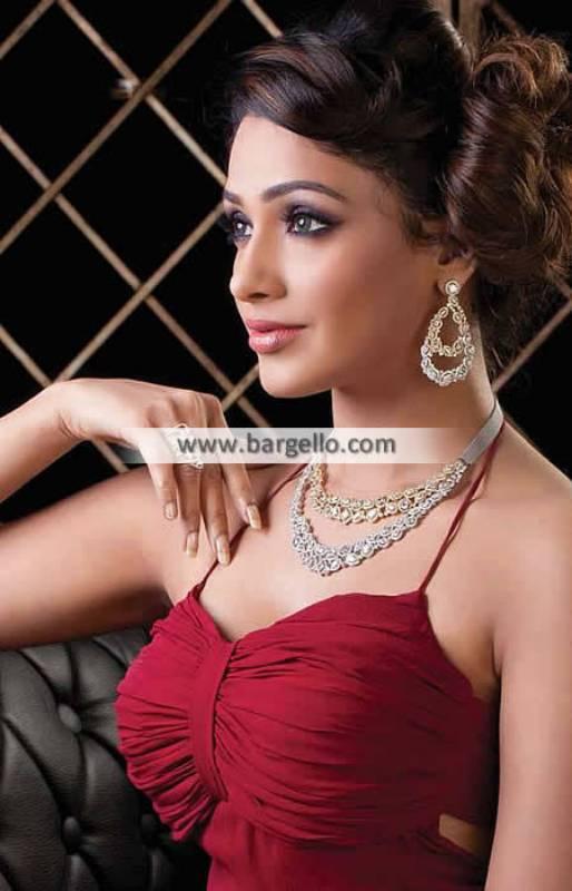 Pakistani Indian Jewellery Sets France Paris Kundan and Zircon Jewellery Set in Silver