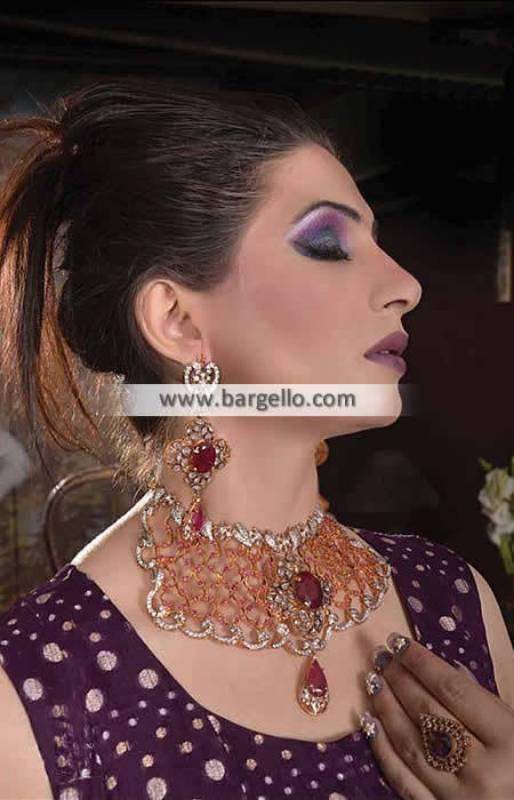 Elegant Pakistani Artificial Jewelry Sets Los Angeles USA Zircons Ruby Kundan Set