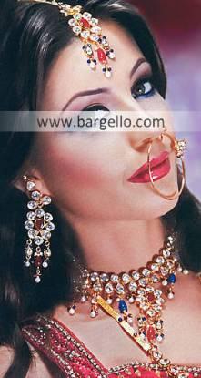 Indian Pakistani Silver Gold Plated Jewelry with Emerald Fuchsia Ruby Garnet Amethyst Studding