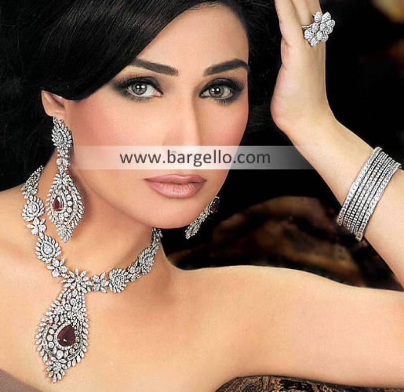 Pakistani Gold Plated Jewelry Studded with Fancy Stones, Exquisite Traditional Modern Jewelry Silver