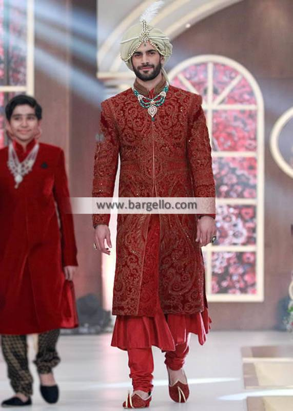 Red Sherwani With Sequence Hand Work All Over