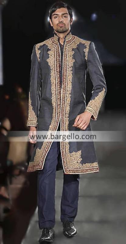 Men's Sherwani Florida USA, Designer Wedding Sherwani California USA, Embroidered Black Sherwani NY