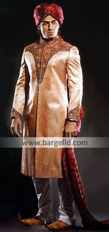 Indian Sherwani Suits, Jodhpuri Indian Dress, Saleem Shahi Shoes Sherwani, Turban Qulla Sherwani