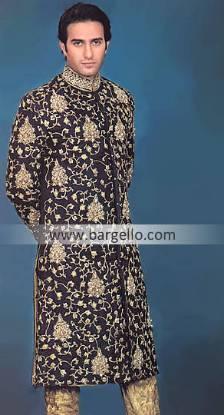 Designer Wedding Embroidered Sherwani, Raw Silk Embroidered Designer Sherwani Pakistan India