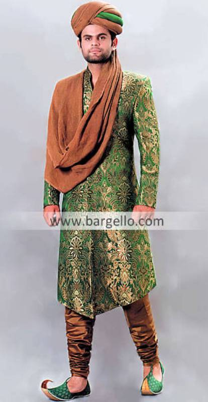 Designer Wedding Embroidered Sherwani Banarsi Jamawar Embroidered Designer Sherwani Pakistan India