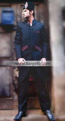 Designer Black Sherwani With Beautiful Embroidery, Buy Latest Black Sherwani Designs Pakistan