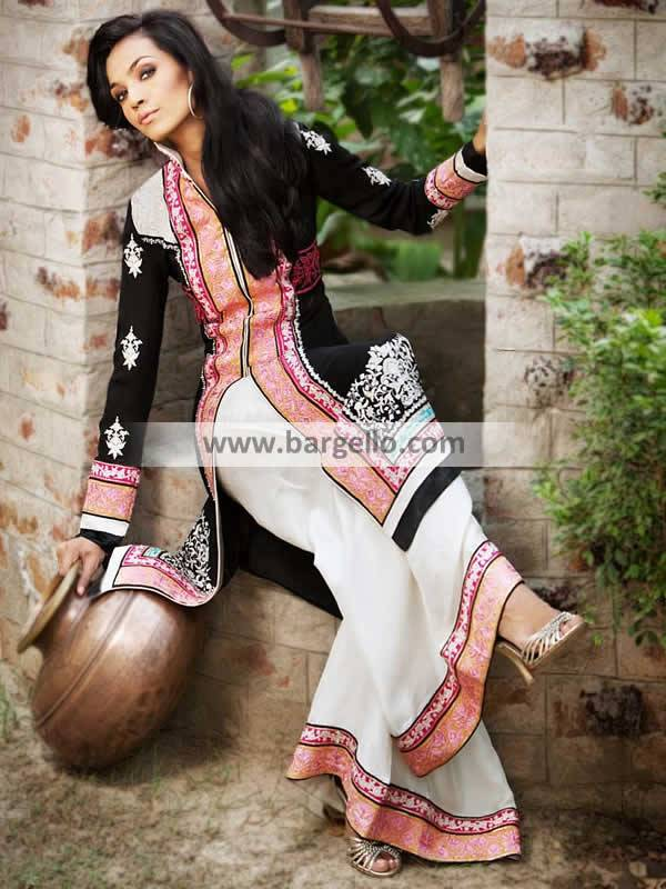 Latest Pakistani Party Wear UK Long Shirt with Flared Trouser Threads & Motifs
