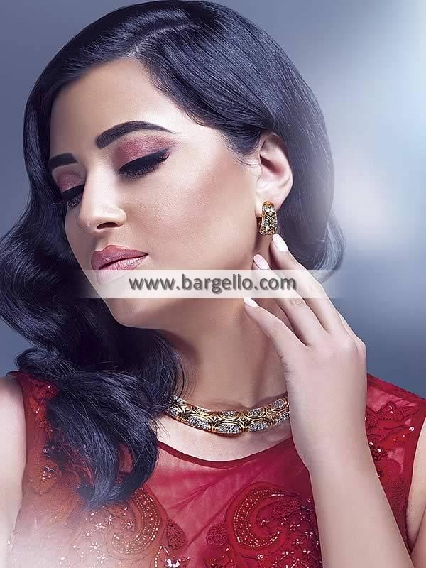 Silver Gold Necklace Earrings Jewellery Set Party Wear Jewellery Set