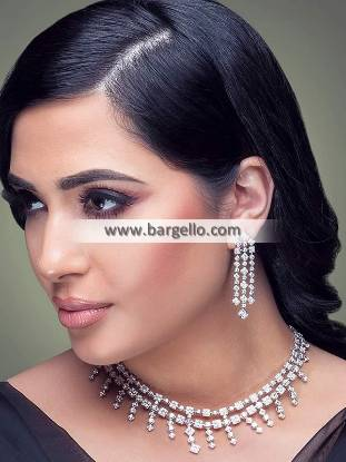 Artificial Diamond Necklace with Earring Set Diamond Necklace Designs
