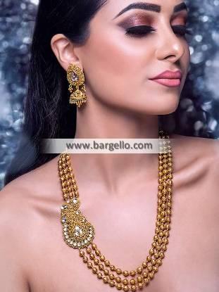 Gold Mala Side Pendant and Earrings Pakistani Bridal Mala Jewellery Set