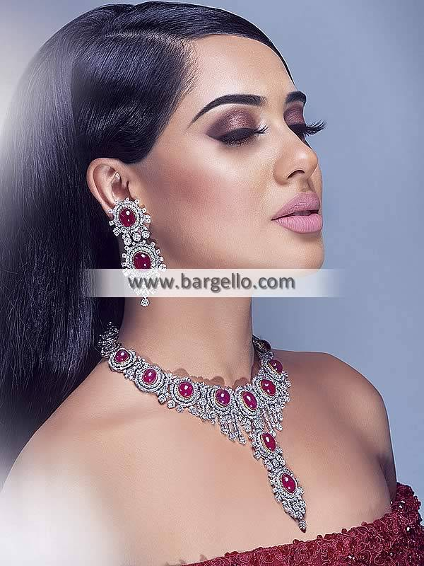 Silver Necklace Set with Earrings Pakistani Party Wear Jewellery Set